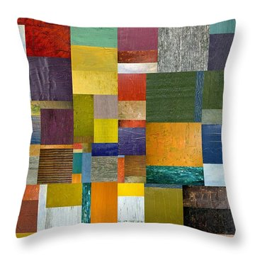 Strips And Pieces V Throw Pillow by Michelle Calkins