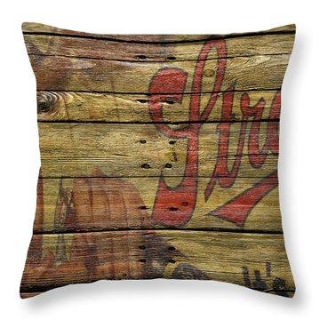 Strohs Beer Throw Pillow by Joe Hamilton