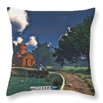 Stroll In The English Countryside Throw Pillow by Ken Morris