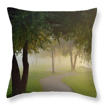 Stroll In The Fog Throw Pillow by Terri Gostola