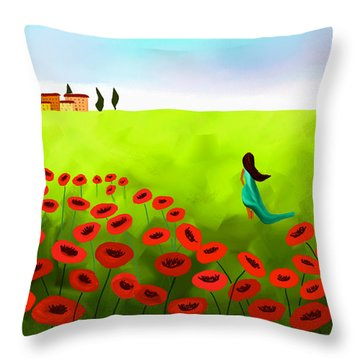 Strolling Among The Red Poppies Throw Pillow