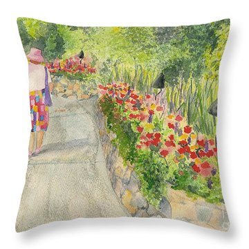 Throw Pillow featuring the painting Strolling Butchart Gardens by Vicki  Housel