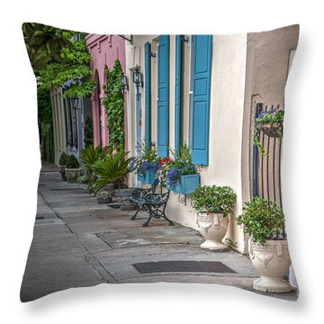 Strolling Down Rainbow Row Throw Pillow