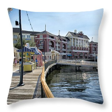 Strolling On The Boardwalk At Disney World Throw Pillow by Thomas Woolworth