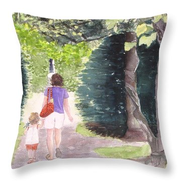 Strolling With Mom Throw Pillow by Carol Flagg