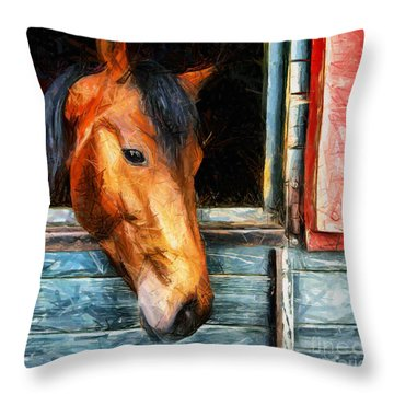 Strong Powerful Beautiful - Horse Drawing Throw Pillow