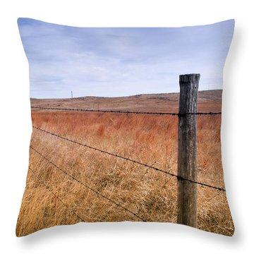 Strong Prairie Fences Throw Pillow