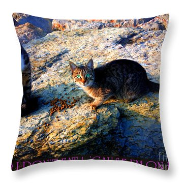 Strong-willed Cat Throw Pillow by Hanza Turgul
