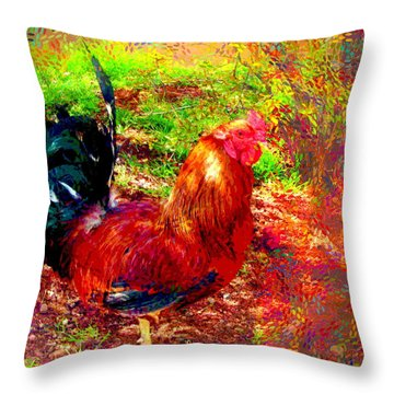 Strutting In Living Color Throw Pillow by Joyce Dickens