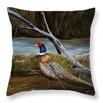 Strutting Pheasant Throw Pillow
