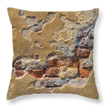 Stucco Brick Wall Throw Pillow by Hans Engbers