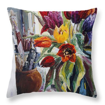 Studio Corner With Tulips Throw Pillow by Barbara Pommerenke