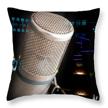 Throw Pillow featuring the photograph Studio Microphone And Recording Gear by Gunter Nezhoda