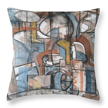 Throw Pillow featuring the painting Studio Synthesis by Clyde Semler
