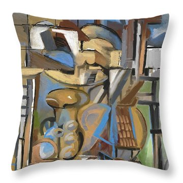 Throw Pillow featuring the digital art Studio With Cello by Clyde Semler