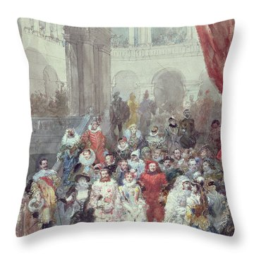 Study For A Costume Ball Given By The Princess Of Sagan Throw Pillow by Eugene-Louis Lami