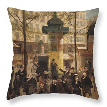 Study For A Panorama Of The Boulevard De Montmartre, 1877 Oil On Canvas Throw Pillow