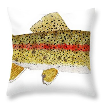 Throw Pillow featuring the painting Study Of A Columbia River Erdband Trout by Thom Glace