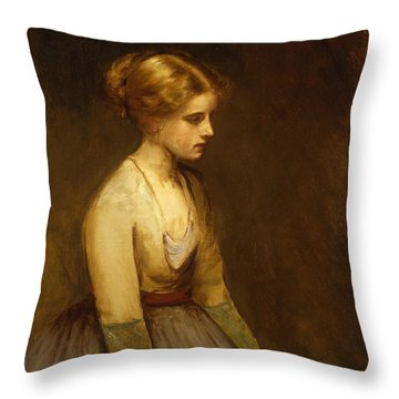 Study Of A Fair Haired Beauty  Throw Pillow by Jean Jacques Henner