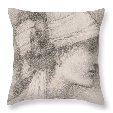 Study Of A Female Head To The Right Throw Pillow by Sir Edward Coley Burne-Jones