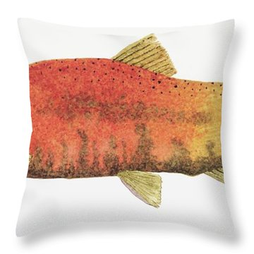 Throw Pillow featuring the painting Study Of A Male Kokanee Salmon In Spawning Brilliance by Thom Glace