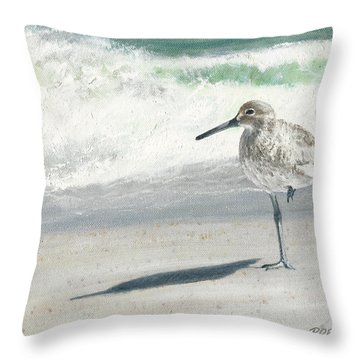 Study Of A Sandpiper Throw Pillow by Rob Dreyer