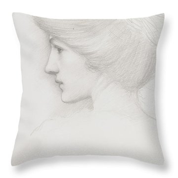 Study Of A Woman's Head Profile To Left Throw Pillow by Sir Edward Coley Burne-Jones