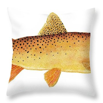 Throw Pillow featuring the painting Study Of A Yellowstone Cutthroat Trout by Thom Glace