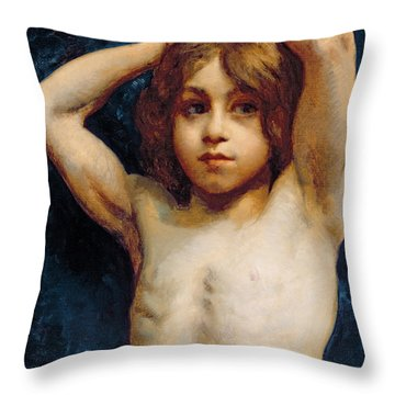 Study Of A Young Boy Throw Pillow by William John Wainwright