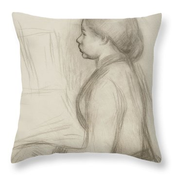 Study Of A Young Girl At The Piano Throw Pillow by Pierre Auguste Renoir