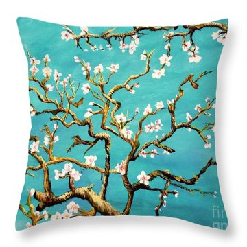 Throw Pillow featuring the painting Study Of Almond Branches By Van Gogh by Donna Dixon