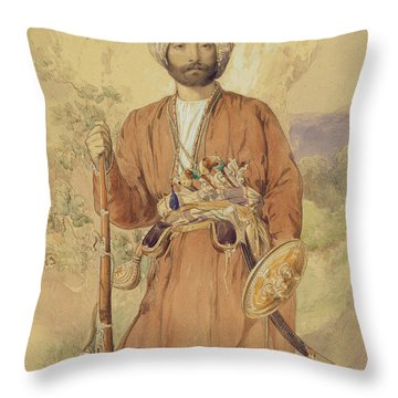 Study Of An Afghan Warrior, Tehran, 1848 Throw Pillow