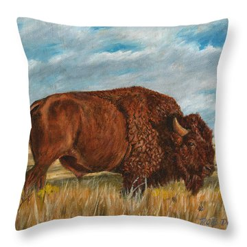 Study Of An American Bison Throw Pillow