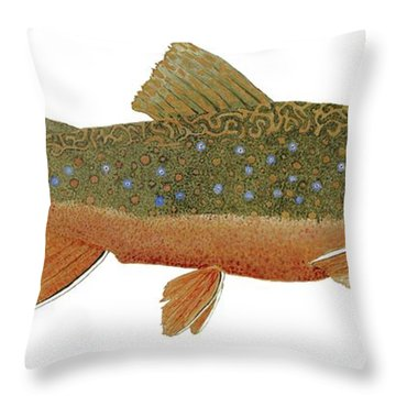 Throw Pillow featuring the painting Study Of An Wild Eastern Brook Trout  by Thom Glace