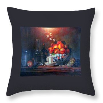 Throw Pillow featuring the painting Study Of Peaches by Donna Tucker