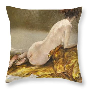 Study Over A Silk Drapery Throw Pillow
