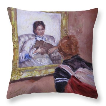 Studying The Reader Throw Pillow