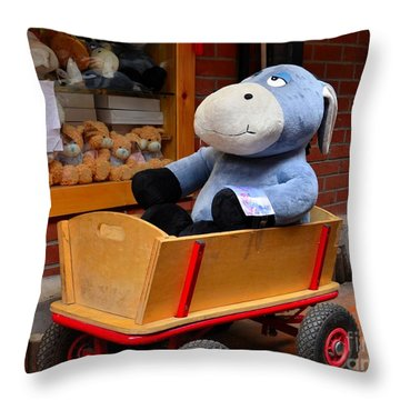 Stuffed Donkey Toy In Wooden Barrow Cart Throw Pillow