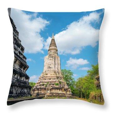 Stupas At Phnom Oudong, Kandal Throw Pillow