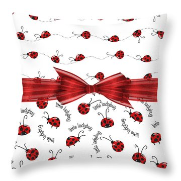 Stylish Ladybugs Throw Pillow by Debra  Miller