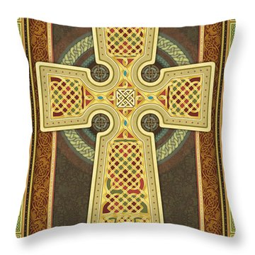 Stylized Celtic Cross Throw Pillow