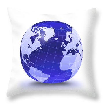 Stylized Earth Globe With Grid Throw Pillow