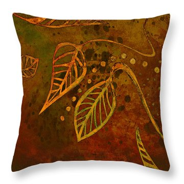 Stylized Leaves Abstract Art  Throw Pillow by Ann Powell