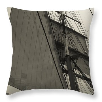 Suare And Triangle Black And White Sepia Throw Pillow