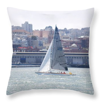 Sub Sail Chocolate Throw Pillow by George Mount