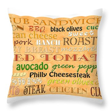 Sub Sandwich Typography Throw Pillow by Andee Design