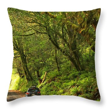 Subaru In The Rainforest Throw Pillow by Adam Jewell