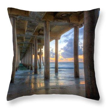 Subtle Pier Sunset Throw Pillow