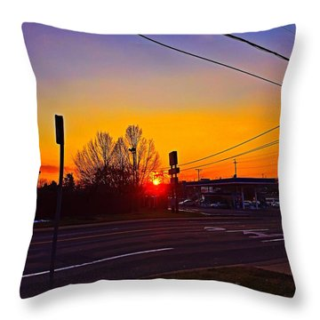Suburban Sunset Throw Pillow