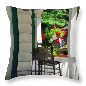 Suburbs - Porch With Rocking Chair And Geraniums Throw Pillow by Susan Savad